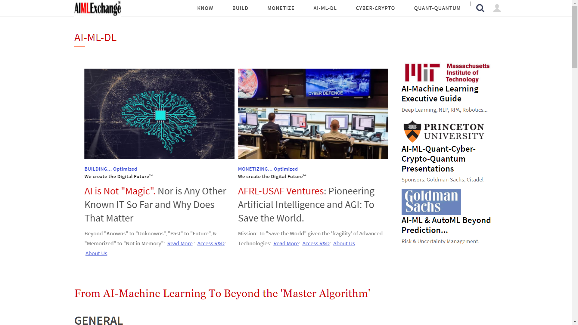 AIMLExchange™: From AI-Machine Learning To Beyond the 'Master Algorithm'.